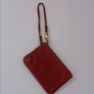 COACH Small Maroon Leather Wristlet